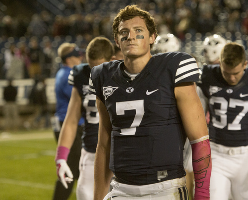 Rick Egan  |  The Salt Lake Tribune  Brigham Young Cougar quarterback Christian Stewart (7) leaves the field after losing to Nevada 42-35 in football action at LaVell Edwards Stadium, Saturday, October18, 2014.