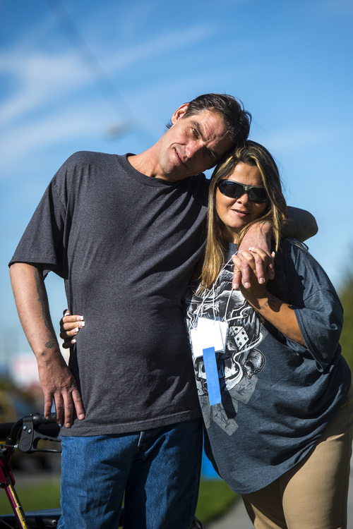 Chris Detrick  |  The Salt Lake Tribune Joseph Hardy poses for a portrait with his girlfriend Brandy Gonzalez Wednesday October 8, 2014.  Hardy who was homeless but now is in a program called Housing First, aimed at getting people into housing before counseling and job seeking.
