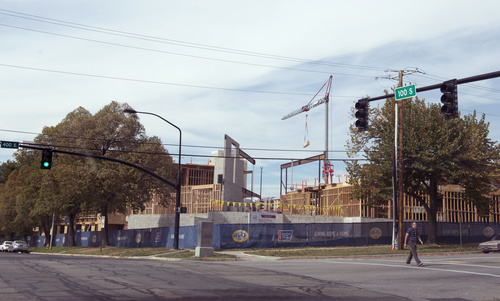 Rick Egan  |  The Salt Lake Tribune  Construction on the corner of 200 South and 400 East, in Salt Lake City, Friday, October 17, 2014.