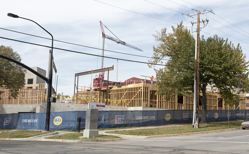 Rick Egan  |  The Salt Lake Tribune  Construction on the corner of 200 South and 400 East in Salt Lake City, Friday, October 17, 2014.