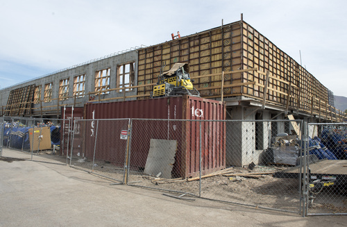 Rick Egan  |  The Salt Lake Tribune   Apartment construction on the southeast corner of 500 South at 300 East in Salt Lake City, Friday, October 17, 2014.