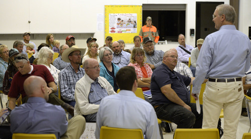Al Hartmann  |  The Salt Lake Tribune Residents of western Juab County listen to a U.S. Air Force representative's presentation at a public forum Monday Oct. 20, 2014, at West Desert High School in Partoun to discuss expanding the Utah Test and Training Range.