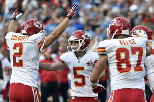Kansas City Chiefs kicker Cairo Santos (5) celebrates with teammates after kicking a field goal against the San Diego Chargers during the second half of an NFL football game Sunday, Oct. 19, 2014, in San Diego. (AP Photo/Denis Poroy)