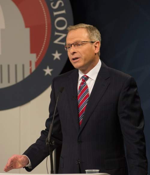 Steve Griffin  |  The Salt Lake Tribune    Doug Owens addresses the audience as he debates Mia Love, in Utah's premier congressional matchup in the 4th district, at the Dolores Doré Eccles Broadcast Center on the University of Utah campus in Salt Lake City, Tuesday, October 14, 2014.