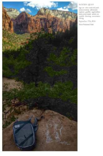 Courtesy     modernhiker.com Instagram post from an artist who vandalized part of Zion National Park.
