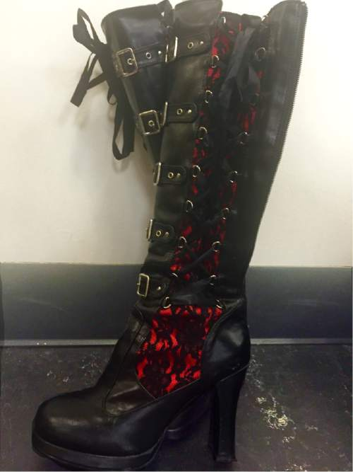 """Courtesy Photo  Boots for the mad scientist Frank N. Furter in Pioneer Theatre Company's concert staging of """"The Rocky Horror Show."""""""