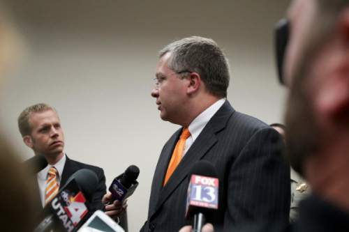 Ian Maule  |  Pool   Prosecutor Craig Johnson talks to media after Conrad Truman was found guilty of murder and obstruction of justice in the 2012 death of his wife Heidy Truman at 4th District Court in Provo on Wednesday, Oct. 22, 2014.