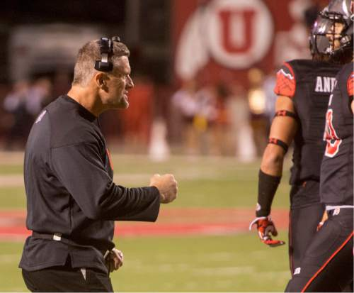 Rick Egan  |  The Salt Lake Tribune   Utah head coach Kyle Whittingham gets the Utes fired up in the final seconds of the game in the Utes' 24-21 victory over the USC Trojans at Rice-Eccles Stadium, Saturday, October 25, 2014.