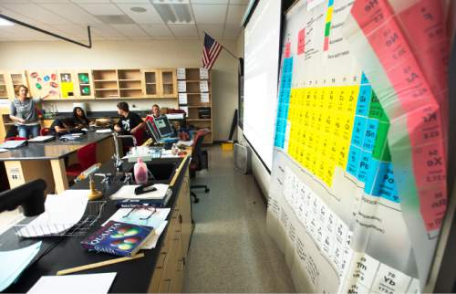 Steve Griffin     The Salt Lake Tribune  Students in Susan Atkin's 10th-grade Core Chemistry class work off the board during their class at Granger High School in West Valley City, Friday, October 24, 2014.