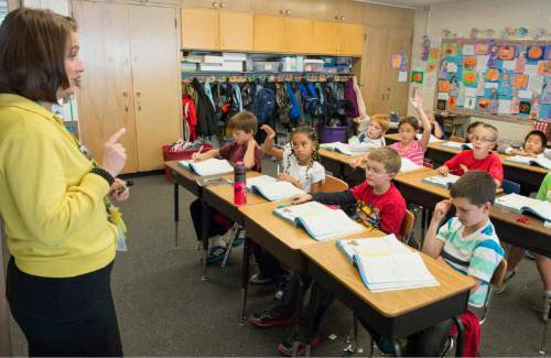 Rick Egan  |  The Salt Lake Tribune  Sonja Aoki's teaches math in her 4th grade class, at Morningside Elementary School, in Holladay, Monday, October 27, 2014.