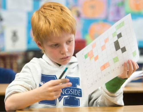Rick Egan  |  The Salt Lake Tribune  Duncan Kyle works on a project in Sonja Aoki's 4th grade class at Morningside Elementary School, in Holladay, Monday, October 27, 2014.