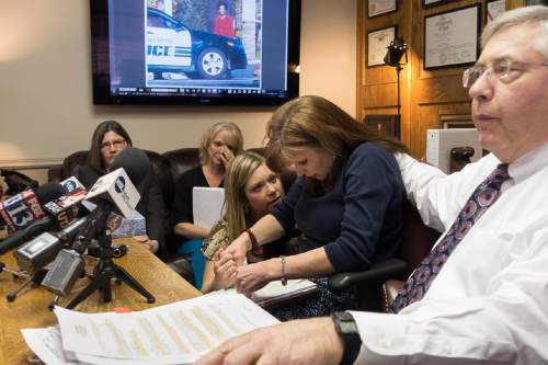 Trent Nelson  |  The Salt Lake Tribune Darrien Hunt's mother Susan Hunt was overcome with emotion during a press conference at the office of attorney Robert Sykes in Salt Lake City, Tuesday October 28, 2014. Darrien Hunt was shot to death Sept. 10 by Saratoga Springs police. Left to right are attorney Karra Porter, Darrien's aunt Barbara Huston, Darrien's cousin Heidi Burton, Susan Hunt, Robert Sykes.