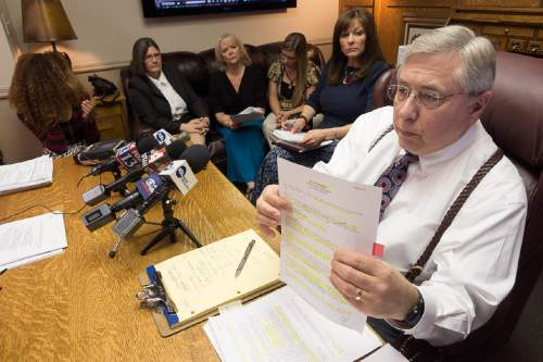 Trent Nelson  |  The Salt Lake Tribune Attorney Robert Sykes speaks about the official autopsy of Darrien Hunt, who was shot to death Sept. 10 by Saratoga Springs police. Sykes, along with Darrien's mother Susan Hunt, spoke to reporters at a press conference in Salt Lake City, Tuesday October 28, 2014.