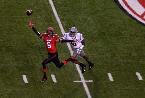 Scott Sommerdorf   |  The Salt Lake Tribune Utah WR Dres Anderson can' reach this pass from QB Travis Wilson on Utah's first possession. Utah would go on to take a quick 21-0 lead over Washington State in the first quarter, Saturday, September 27, 2014.