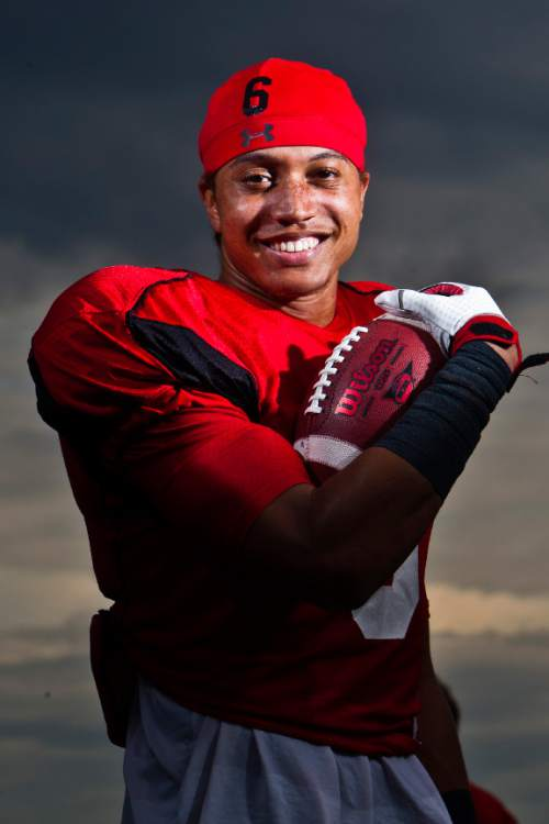 Chris Detrick  |  The Salt Lake Tribune Utah receiver Dres Anderson poses for a portrait at Thomas Kearns McCarthey Field Tuesday September 10, 2013.