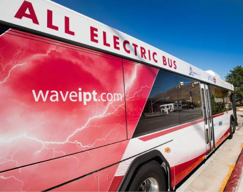 Steve Griffin  |  The Salt Lake Tribune   This new wireless electric bus starts running this week at the University of Utah. It was built with a $2.7 million federal grant and uses a charging track at the school's bus stop neat the Special Events Center in Salt Lake City, Tuesday, October 28, 2014.