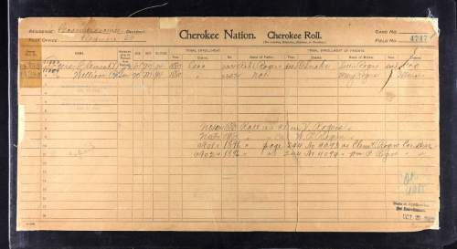 This undated image provided by ancestry.com shows a page from the Cherokee Nation - Cherokee Roll. To help people with Indian blood trace their roots, Utah-based genealogy website Ancestry.com has partnered with the Oklahoma Historical Society to add more than 3.2 million American Indian historical records and images to its website. (AP Photo/Ancestry.com)