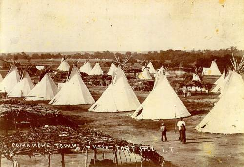 This undated photo provided by ancestry.com shows a Comanche town near Ft. Sill, Okla. To help people with Indian blood trace their roots, Utah-based genealogy website Ancestry.com has partnered with the Oklahoma Historical Society to add more than 3.2 million American Indian historical records and images to its website. (AP Photo/Ancestry.com)