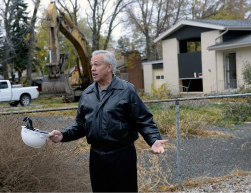 Al Hartmann  |  The Salt Lake Tribune Cottonwood Heights Mayor Kelvyn Cullimore welcomes residents and city officials to begin the demolition of eight homes Monday Nov. 3, 2014, that will make way for a new city hall at 7550 S. 2300 East.
