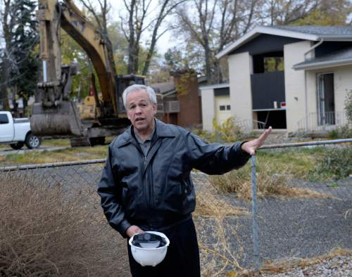Al Hartmann  |  The Salt Lake Tribune Cottonwood Heights Mayor Kelvyn Cullimore welcomes residents and city officials to begin the demolition of eight homes Monday, Nov. 3, 2014, that will make way for a new city hall at 7550 S. 2300 East.