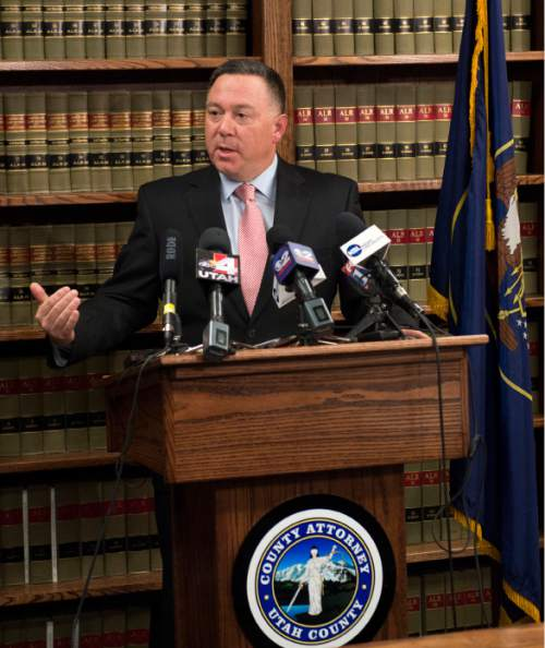 Steve Griffin  |  The Salt Lake Tribune  Utah County Attorney Jeffrey Buhman addresses the media as he explains the office's ruling in the officer-involved shooting of Darrien Hunt during a press conference at the Utah County Attorney's Office in Provo, Monday, November 3, 2014.