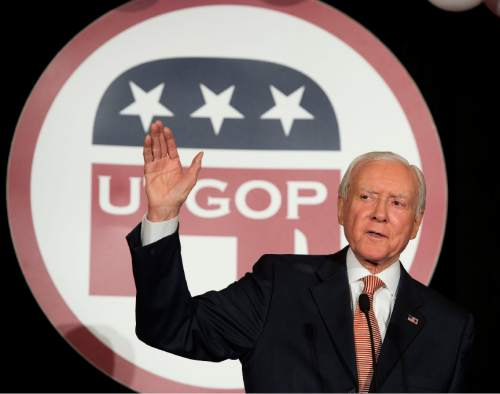 Steve Griffin  |  The Salt Lake Tribune  Senator Orrin Hatch addresses the crowd during the GOP election night party at the Hilton in downtown Salt Lake City shorty after Republicans secured a majority in the Senate, Tuesday November 4, 2014.