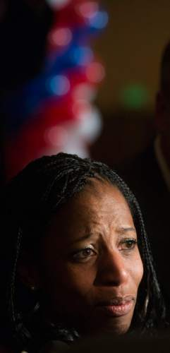Steve Griffin  |  The Salt Lake Tribune   With tears in her eyes Mia Love talks with reporters after winning the congressional race in Utah's 4th district  Salt Lake City, Wednesday, November 5, 2014.