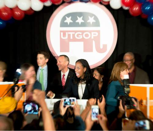 Steve Griffin  |  The Salt Lake Tribune   Mia Love screams with excitement as she takes the stage with her husband Jason after being introduced as the winner of her congressional race in Utah's 4th district  Salt Lake City, Wednesday, November 5, 2014.