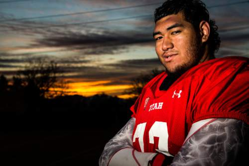 Chris Detrick  |  The Salt Lake Tribune Utah left tackle Jeremiah Poutasi poses for a portrait after a practice at the Eccles Football Center Tuesday November 4, 2014.