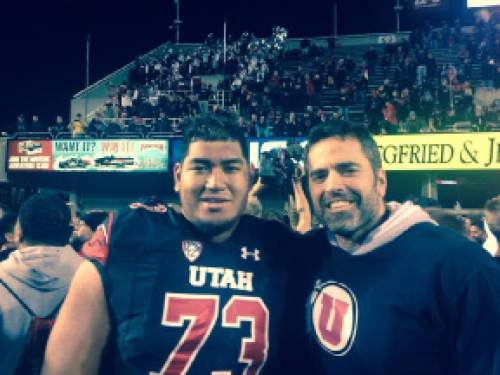 (Courtesy Sean Abid)  Utah left tackle Jeremiah Poutasi and Sean Abid, Poutasi's high school counselor, met up after Utah beat USC 24-21 in late October.