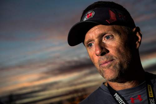 Chris Detrick  |  The Salt Lake Tribune Utah head coach Kyle Whittingham talks to members of the media after a practice at the Eccles Football Center Tuesday November 4, 2014.
