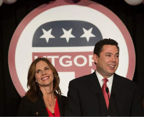 Steve Griffin  |  The Salt Lake Tribune  Representative Jason Chaffetz addresses the crowd alongside his wife Julie Chaffetz during the GOP election night party at the Hilton in downtown Salt Lake City, Tuesday November 4, 2014.