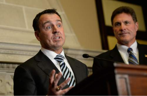 Francisco Kjolseth  |  The Salt Lake Tribune The House Republicans choose Rep. Greg Hughes, left, as the new House Speaker during a closed election meeting at the Utah State Capitol on Thursday, Nov. 6, 2014. At right is house speaker Rep. James Dunnigan.