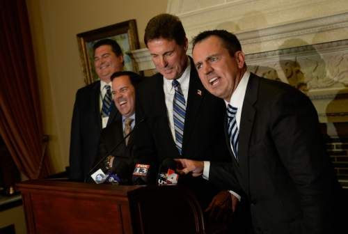 Francisco Kjolseth  |  The Salt Lake Tribune Making a brief joke about the Senate, the House Republicans announce Rep. Greg Hughes, as the new House Speaker, right, along with the rest of the leadership team including Rep. Francis Gibson, Rep. Brad Wilson and Rep. James Dunnigan, from left, during a closed election meeting at the Utah State Capitol on Thursday, Nov. 6, 2014.