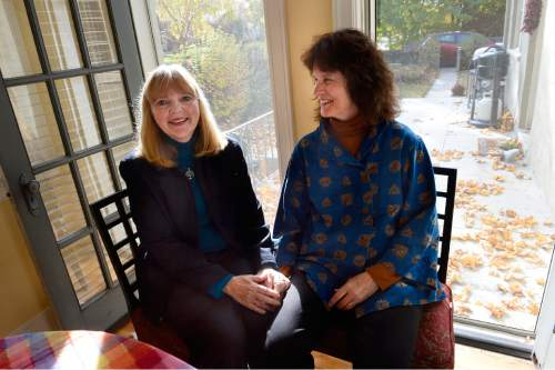 Scott Sommerdorf  |  The Salt Lake Tribune The Rev. Patty Willis, left, pastor at South Valley Unitarian Universalist Church in Cottonwood Heights, and her wife, Mary Lou Prince, the church's music director, in their Salt Lake City home, Thursday, November 6, 2014.