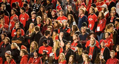 Rick Egan  |  The Salt Lake Tribune  Ute fans watch as Oregon pulls ahead 44-27 in the 4th quarter, in Pac-12 football action, Utah vs. Oregon game, at Rice-Eccles Stadium, Saturday, November 8, 2014
