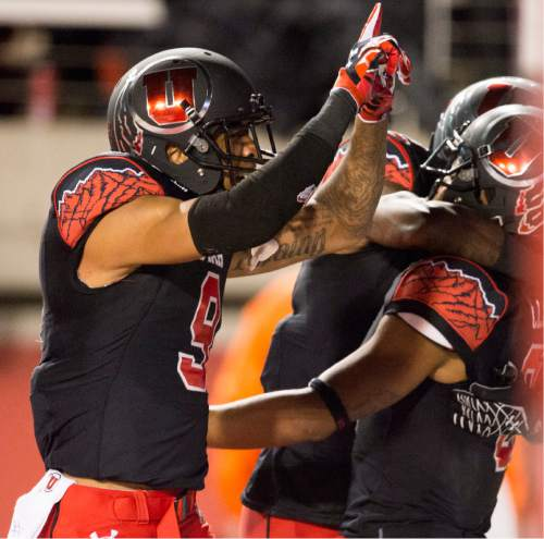Rick Egan  |  The Salt Lake Tribune  Utah Utes wide receiver Kaelin Clay (8) celebrates what appeared to be a touchdown, but he dropped the ball before he reached the end zone, resulting in an a 99-yard Oregon touchdown, in PAC-12 action, Utah vs. Oregon game, at Rice-Eccles Stadium, Saturday, November 8, 2014