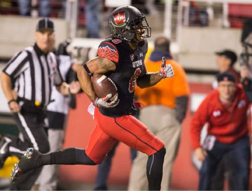 Rick Egan  |  The Salt Lake Tribune  Utah Utes wide receiver Kaelin Clay (8) runs for the end zone on a long pass play, but dropped the ball before he reached the end zone, resulting in an a 99-yard Oregon touchdown, in PAC-12 action, Utah vs. Oregon game, at Rice-Eccles Stadium, Saturday, November 8, 2014