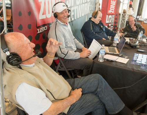 Rick Egan  |  The Salt Lake Tribune  Former football coaches Ron McBride and LaVell Edwards share a laugh as they do their weekly radio show, Friday, November 7, 2014