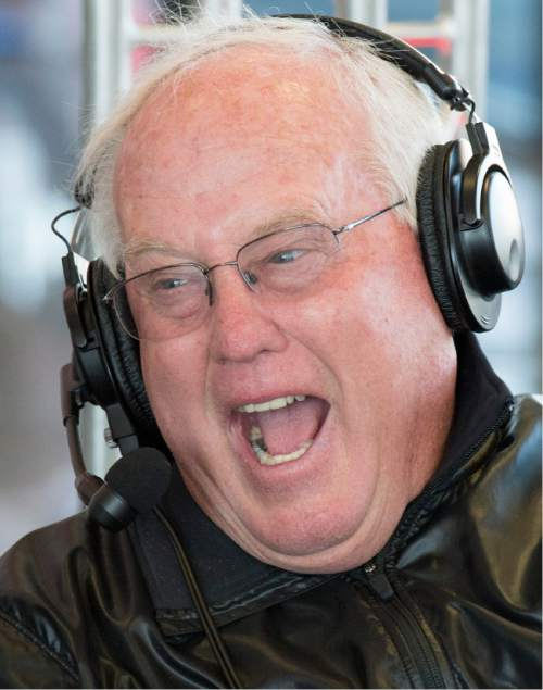 Rick Egan  |  The Salt Lake Tribune  Former football Utah coach Ron McBride has a laugh as he and former BYU coach, LaVell Edwards participate in their weekly radio show, Friday, November 7, 2014