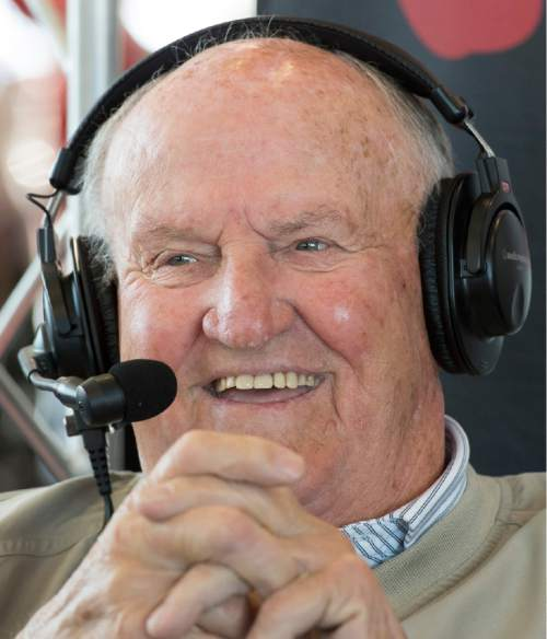 Rick Egan  |  The Salt Lake Tribune  Former former BYU football coach, LaVell Edwards jokes with former Utah football coach Ron McBride during their weekly radio show, Friday, November 7, 2014
