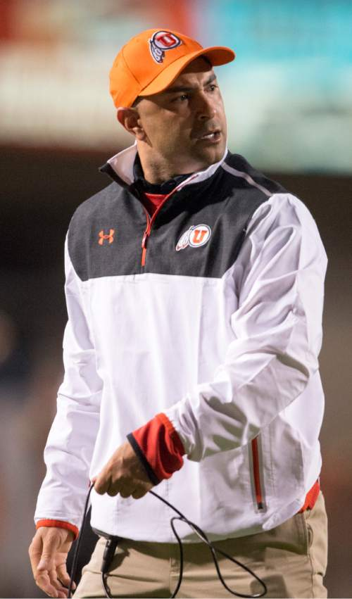 Rick Egan  |  The Salt Lake Tribune  University of Utah wide receivers coach Taylor Stubblefield shouts at Utes wide receiver Kaelin Clay (8) after he dropped the ball before reaching the end zone, resulting in a fumble and an Oregon touchdown, in PAC-12 action, Utah vs. Oregon game, at Rice-Eccles Stadium, Saturday, November 8, 2014