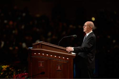 "Scott Sommerdorf  |  The Salt Lake Tribune Elder Henry B. Eyring in his talk spoke of ""Continuing Revelation"" at the 184th Semiannual General Conference of the Church of Jesus Christ of Latter Day Saints, Sunday, October 5, 2014."