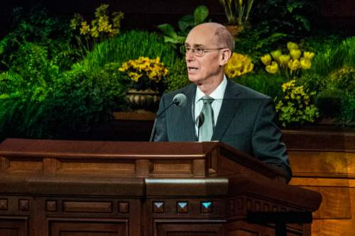Chris Detrick  |  The Salt Lake Tribune  President Henry B. Eyring, First Counselor in the First Presidency, speaks during the morning session of the 184th Semiannual General Conference of The Church of Jesus Christ of Latter-day Saints Saturday April 5, 2014.