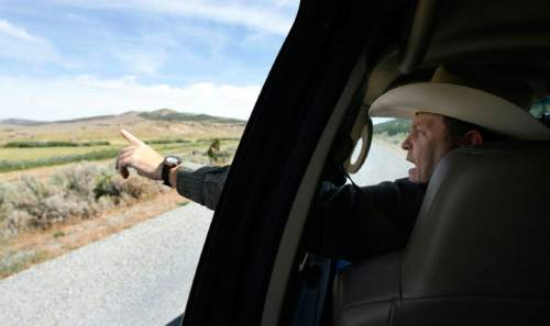 Francisco Kjolseth  |  The Salt Lake Tribune Brent Tanner, points out some of the habitat that has been created for Sage Grouse in the Grouse Creek Valley. Cattlemen and brothers Blaine, Jay and Brent Tanner have been awarded conservation awards for the management of their operation, Della Ranches.  They run up to 1,000 cattle on some 192,000 acres of private, state-an Federally owned lands in the Grouse Creek Valley. The three are partners in a family ranch that's been operating in Box Elder County for more than 130 years.