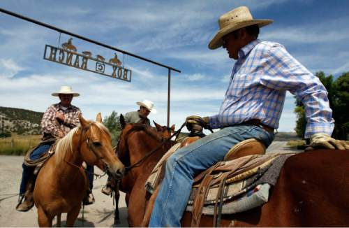 Francisco Kjolseth  |  The Salt Lake Tribune Cattlemen and brothers Blaine, Brent and Jay Tanner, from left, have been awarded conservation awards for the management of their operation, Della Ranches.  They run up to 1,000 cattle on some 192,000 acres of private, state-an Federally owned lands in the Grouse Creek Valley. The three are partners in a family ranch that's been operating in Box Elder County for more than 130 years.