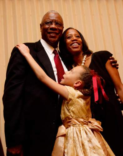 Trent Nelson  |  The Salt Lake Tribune Mia B. Love was sworn in as the new Mayor of Saratoga Springs, Friday, January 8, 2010 at the TalonsCove Country Club. Following the ceremony she was embraced by her father Jean Bourdeau and daughter Abigale Love.