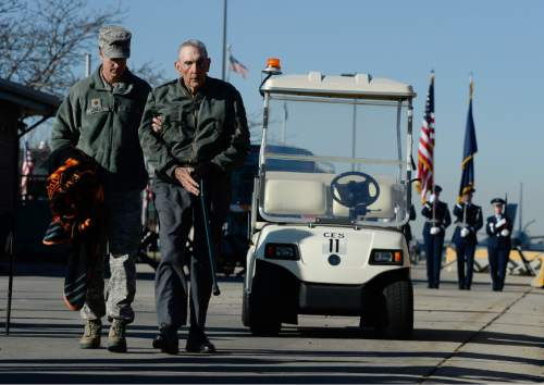 "Francisco Kjolseth  |  The Salt Lake Tribune Retired Brig. Gen. Roland Wright, who flew the ""Mormon Mustang"" during World War II, arrives at the Utah Air National Guard Base east of SLC International for an unveiling of the renaming of the base in his honor."