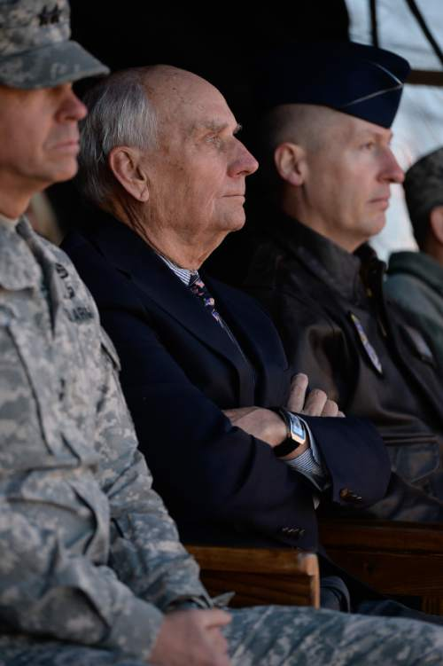 "Francisco Kjolseth  |  The Salt Lake Tribune Former Senator and astronaut Jake Garn attends festivities at the Utah Air National Guard Base east of SLC International that was being renamed for retired Brig. Gen. Roland Wright, who flew the ""Mormon Mustang"" during World War II."