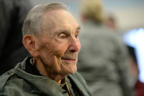 "Francisco Kjolseth  |  The Salt Lake Tribune The Utah Air National Guard Base east of SLC International is renamed for retired Brig. Gen. Roland Wright, who flew the ""Mormon Mustang"" during World War II, as he gives interviews during the special event on Tuesday, Nov. 18, 2014."